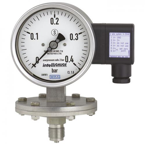 Models PGT43.100, PGT43.160 Diaphragm pressure gauge with output signal