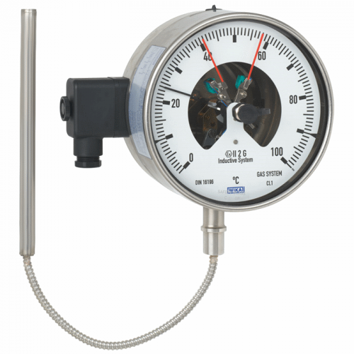 Model 73-8xx Gas-actuated thermometer with switch contacts Stainless steel version