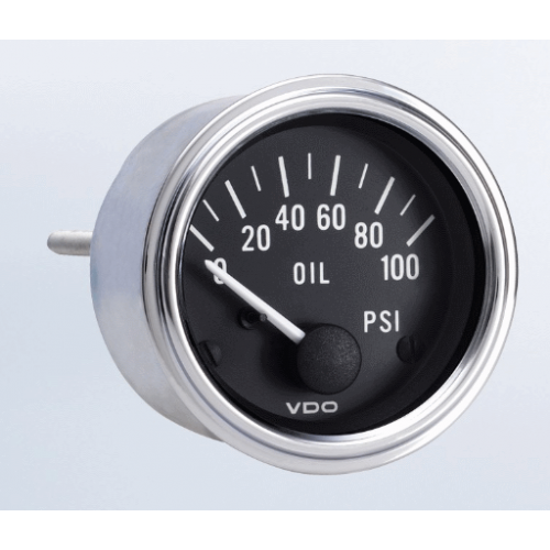 100 PSI Oil Pressure Gauge with VDO Sender and Metric Thread Adapters