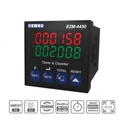 EZM-4450 RS 232/485 Seri Haberleşme Birimi ile çok fonksiyonlu Programlanabilir Zaman Rölesi ve Sayıcı